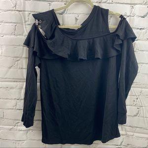 Halogen cold shoulder front ruffle sweater